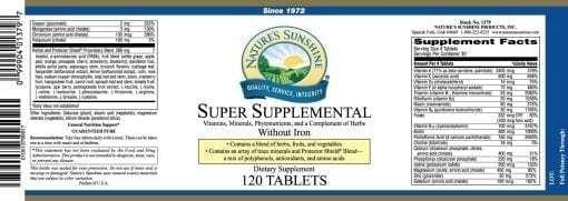 Super Supplemental Vitamins & Minerals w/o Iron