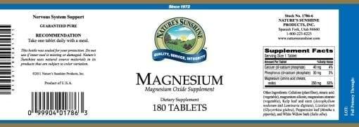 Magnesium - 250 mg.