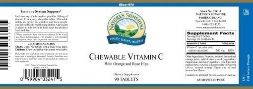 Vitamin C Chewable - 250 mg.