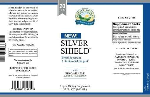 Silver Shield Aqua Sol Technology (Colloidal Silver) - 20 ppm - 32 oz.
