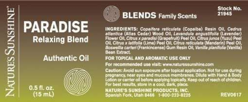Paradise Relaxing Blend - 100% Essential Oils
